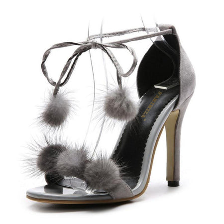 Women Sandals Fur Ball Ankle Strap   Heels