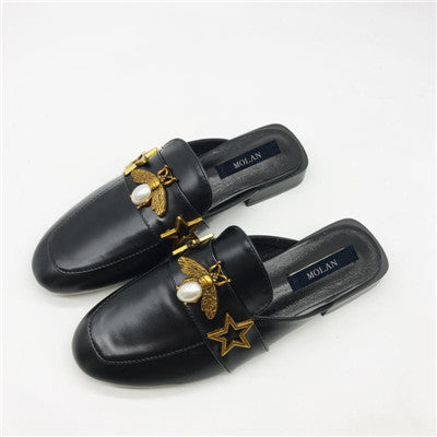 Metal Pearl Bee Superstar Leather Flat Slippers