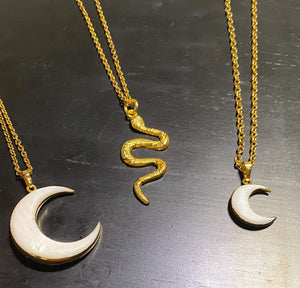 Mother of Pearl Crescent Moon Necklace - Little Moon