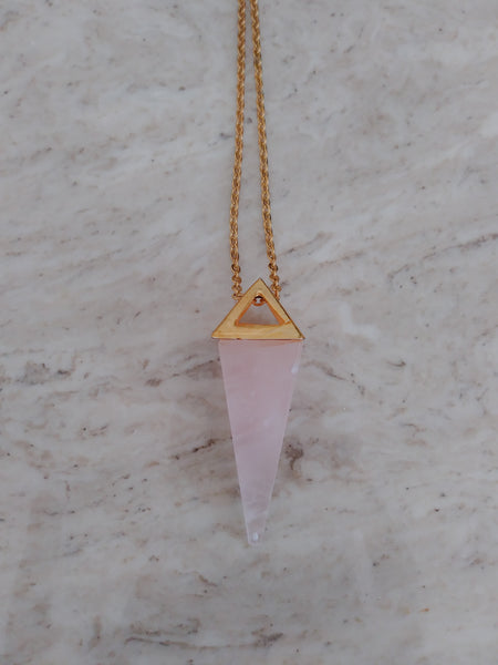 Rose Quartz Pyramid Pendulum Necklace