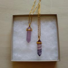 Amethyst & Fluorite Necklace Box Set