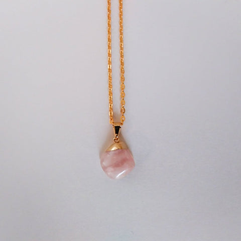 Petite Rose Quartz Gold Necklace