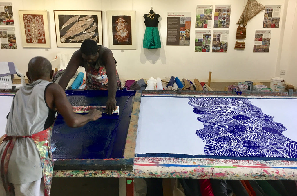 Virgil and Gabriel at Injalak Arts printing Manme design