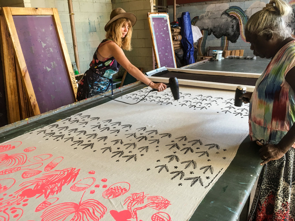 Millie and Margaret drying some new designs in Katherine