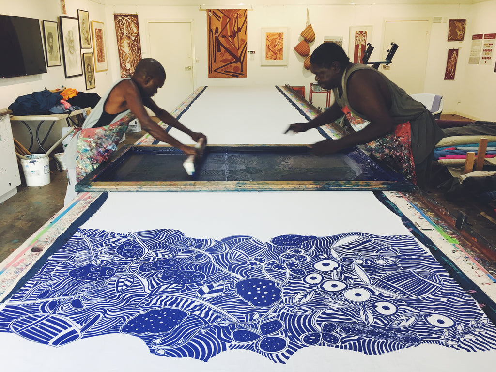 Virgil and Daniel screenprinting 'Manme' design at Injalak Arts Gunbalanya - photo provided by Injalak