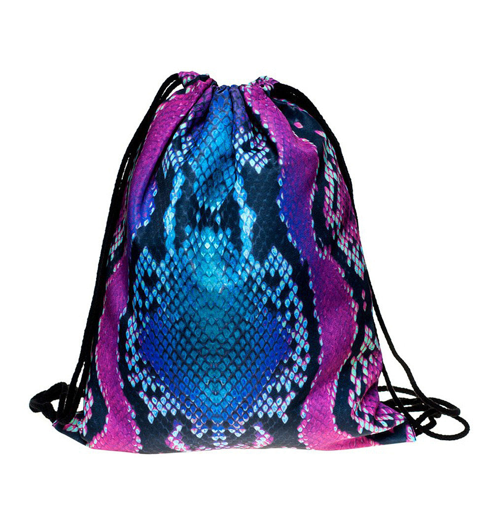 Psychedelic Snake Print Drawstring Bag Quirky Backpack