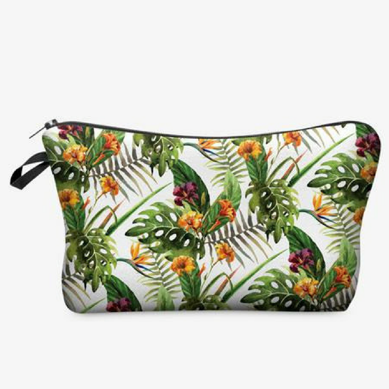 Vintage Style Tropical Print Cosmetic Bag