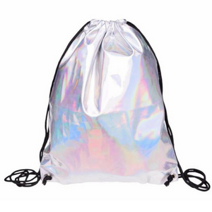 UV Silver Drawstring Bag Faux Leather Backpack