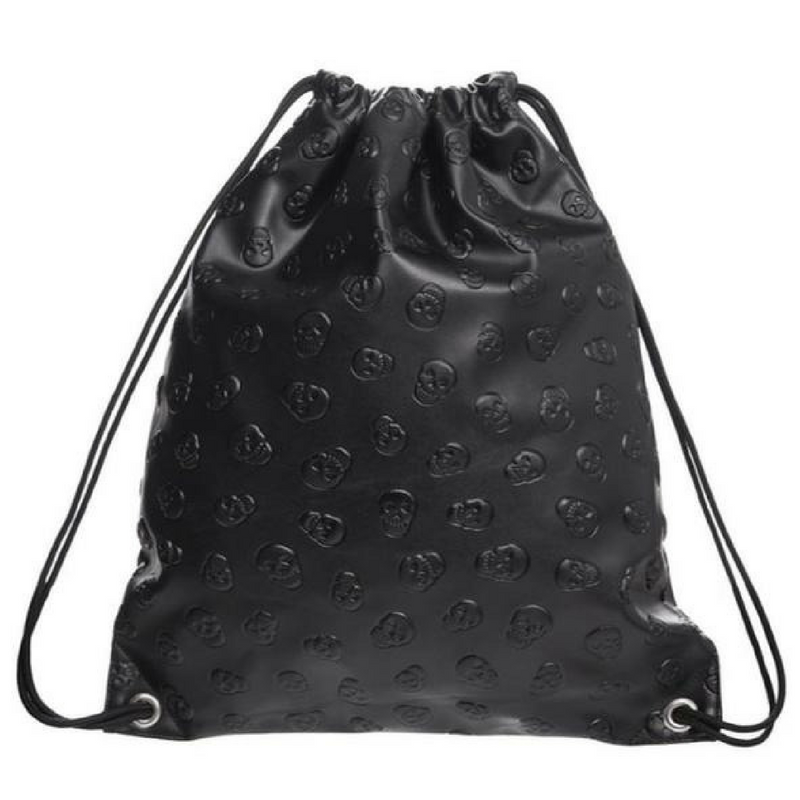 Black Leather Backpack with Skull Details Drawstring Bag