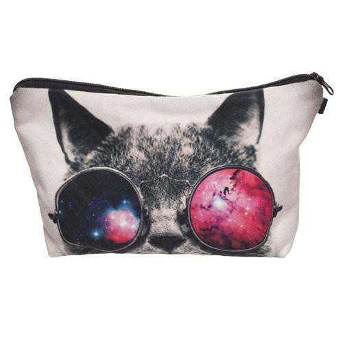 Toxic Kitty Print Cosmetic Bag