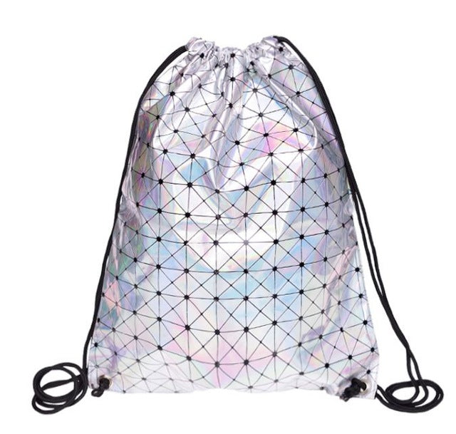 Silver PU Leather Backpack Drawstring Bag