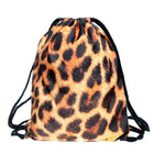Leopard Print Drawstring Bag Backpack