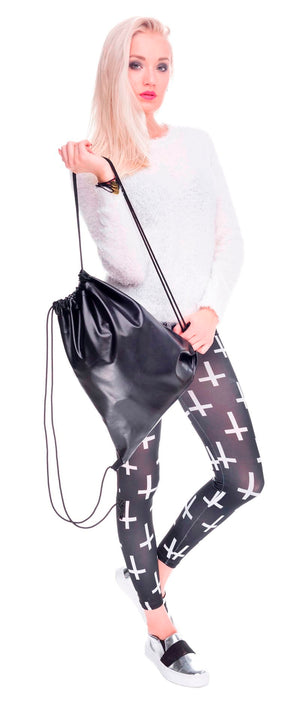 Black Rock Chic Drawstring Bag Faux Leather Backpack