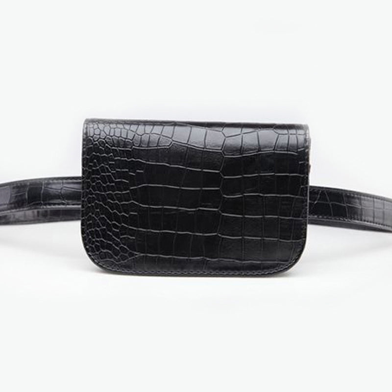 Korean Style Bum Bag Black Alligator PU Leather Fanny Pack - 3 Colors