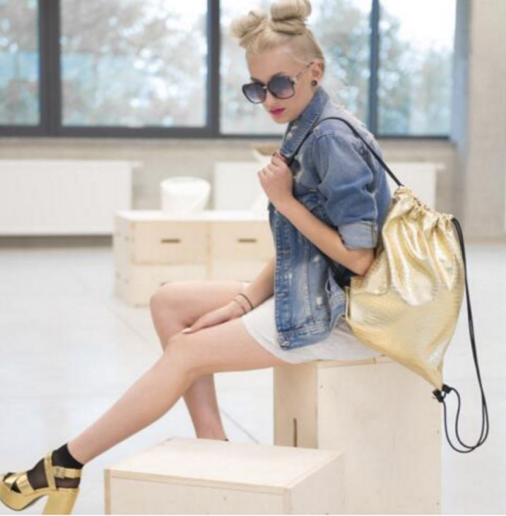 Retro Gold Crocodile Faux Leather Drawstring Backpack