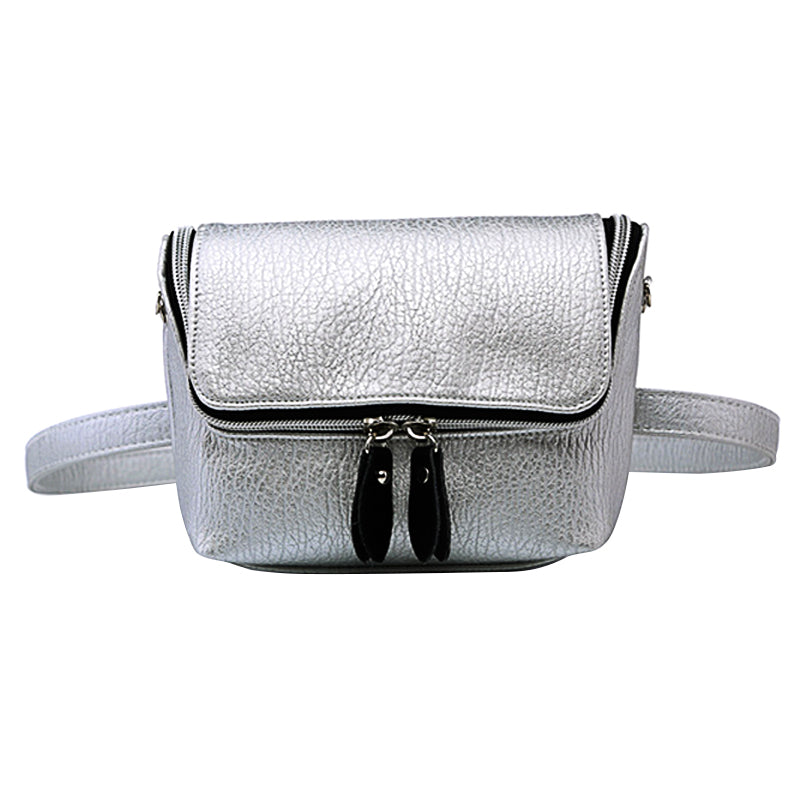 Edgy Metallic Fanny Pack Zipped Bum Bag - 3 Colors