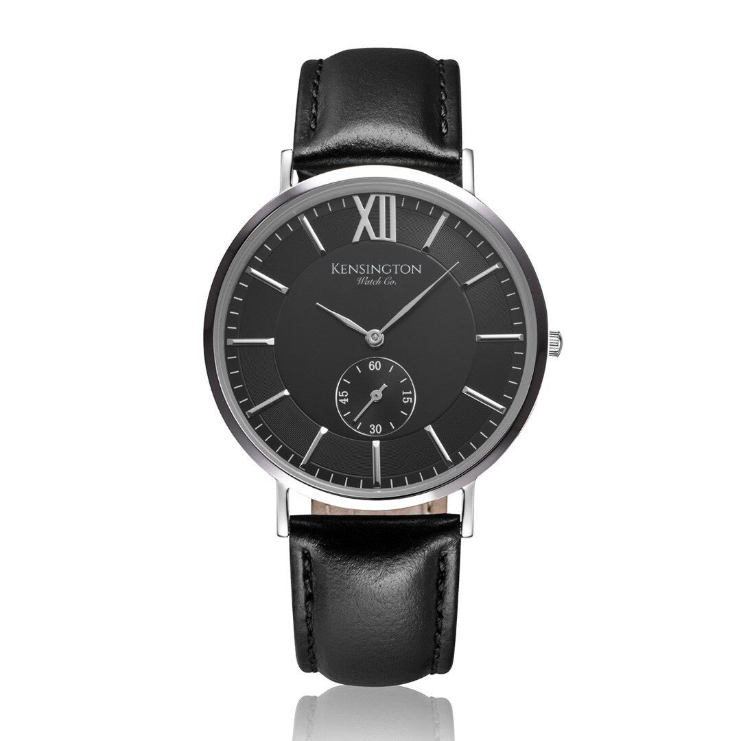 The Onslow | 40mm | Black Leather Strap