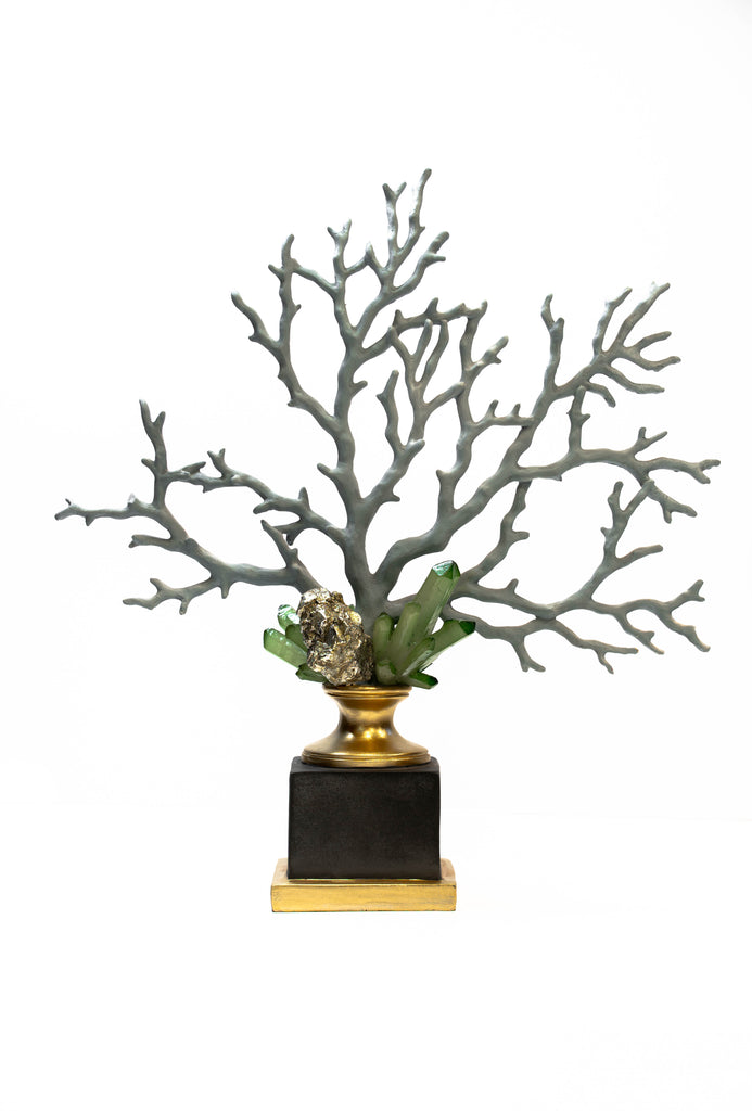 Coral and Crystal Sculpture on Gilt Black Stand