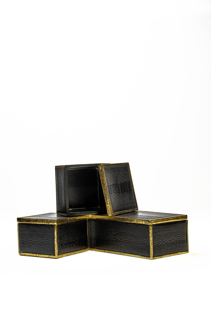 Set of Faux Black Crocodile Leather Boxes