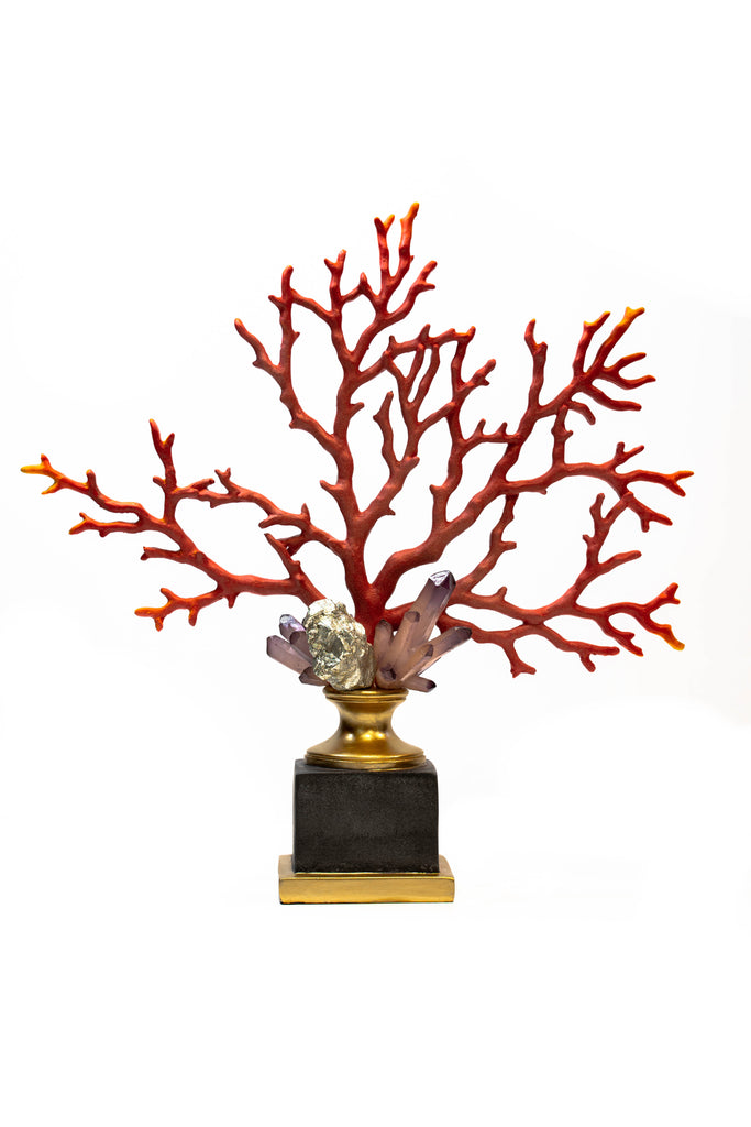 Coral and Crystal Sculpture on Gilt and Black Stand