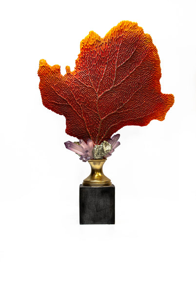 Red Fan Coral and Crystal Sculpture on Gilt and Black Stand