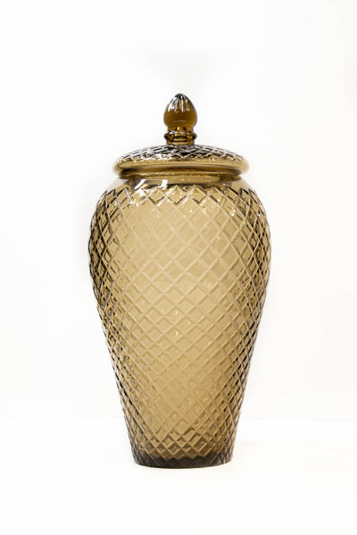 Amber Diamond Cut Glass Urn