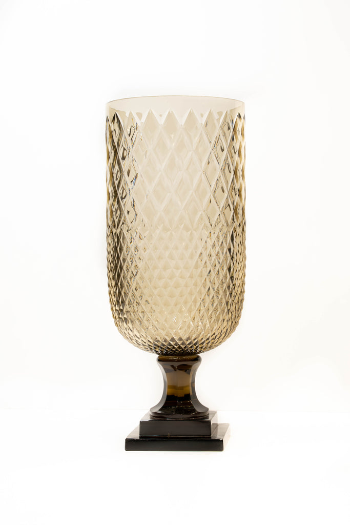 Amber Diamond Cut Glass Vase with Base