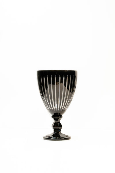 Black Cut Crystal Vase
