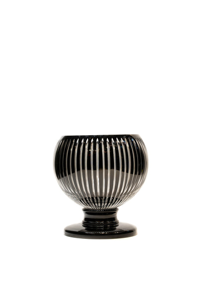 Black Cut Round Crystal Vase