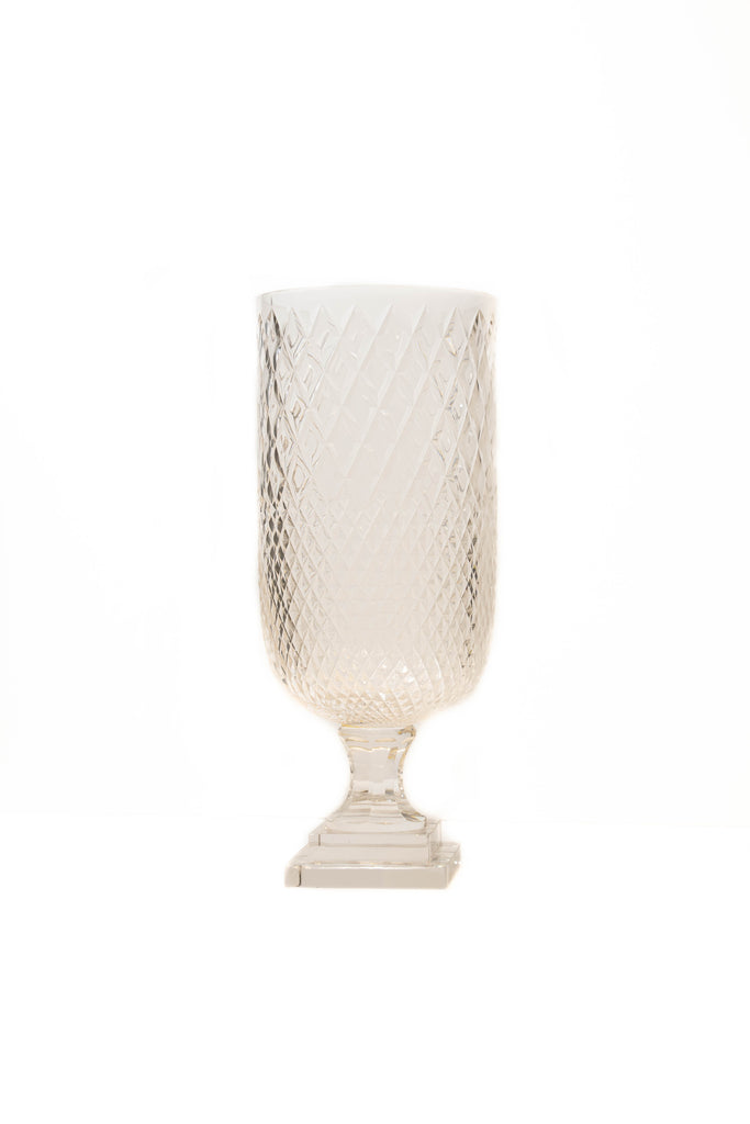 Clear Diamond Cut Glass Botanical Vase with Base