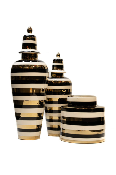 Set of 3 Black, White and Gold Ginger Jars