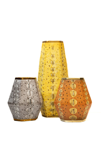 Set of 3 Faux Leather African Vases