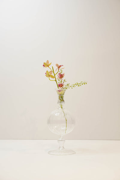 Round Hand Blown Glass Bud Vase