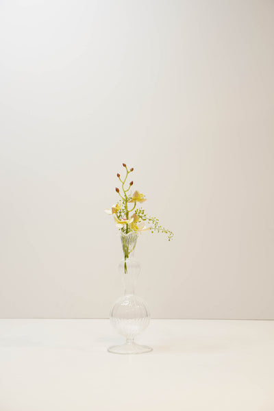 Double Round Hand Blown Glass Bud Vase