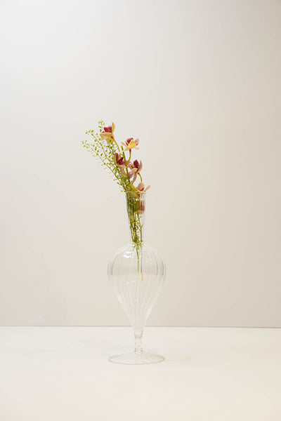 Teardrop Hand Blown Glass Bud Vase