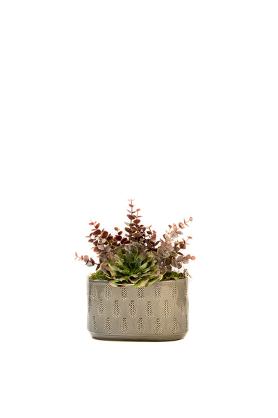 Pale Grey Leaf Ceramic Planter
