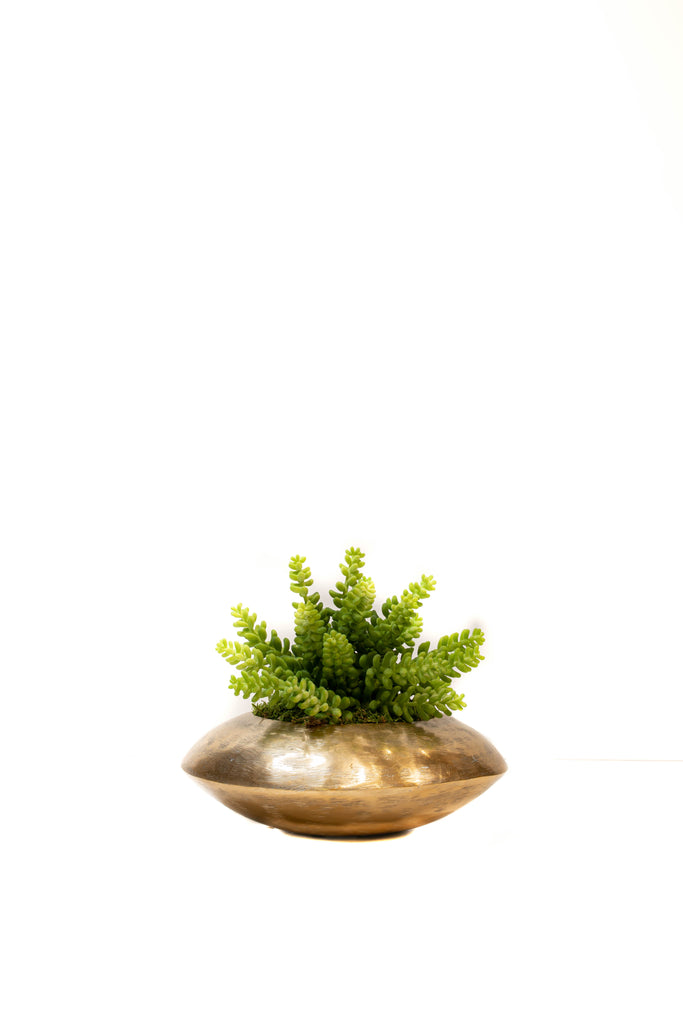Brushed Gold Round Planter