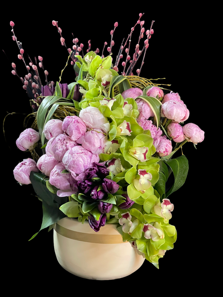Peonies with Orchids