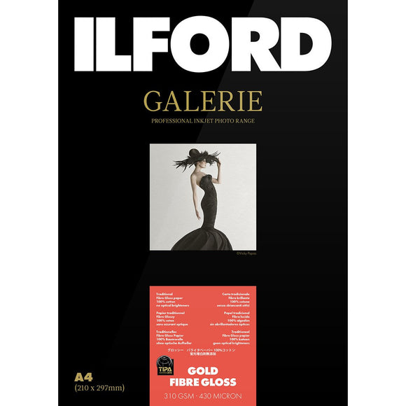 TIPA Awarded Galerie Gold Fibre Gloss 310GSM A3+ Photo paper 25 Sheets