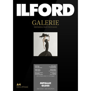 ILFORD Galerie Metallic Gloss 260 GSM A4 Photo Paper, 25 Sheets