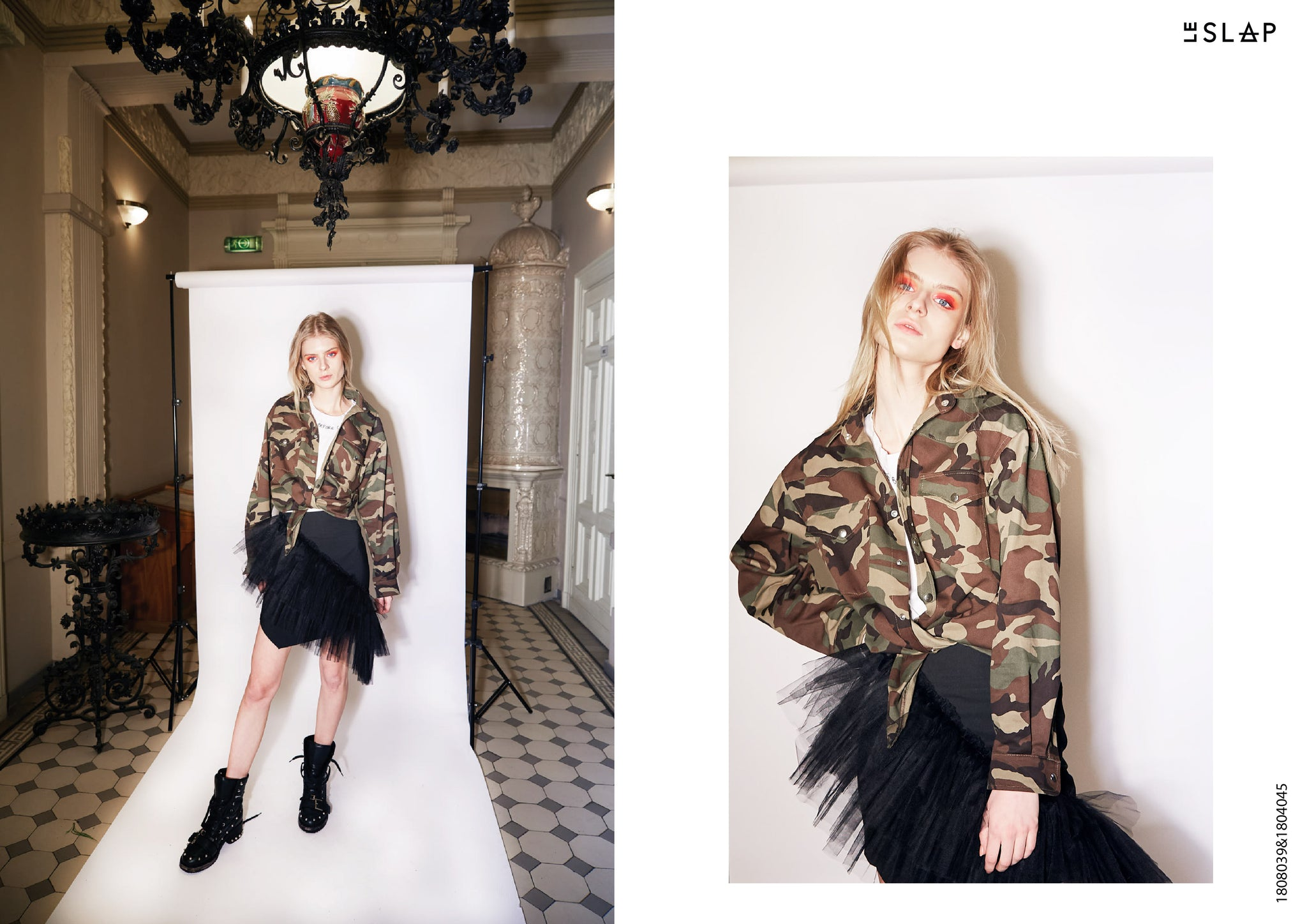 Le SLAP clothing brand lookbook statement fashion photoshoot Camouflage snap button jacket Drape tulle mini skirt