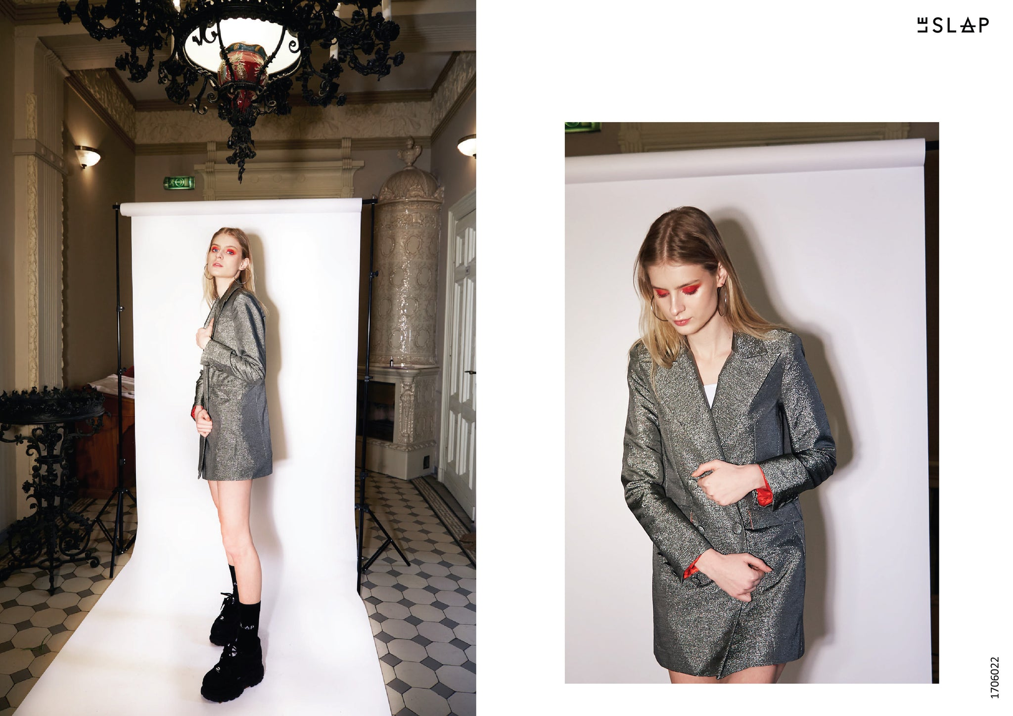 Le SLAP clothing brand lookbook statement fashion photoshoot Metallic dress / jacket