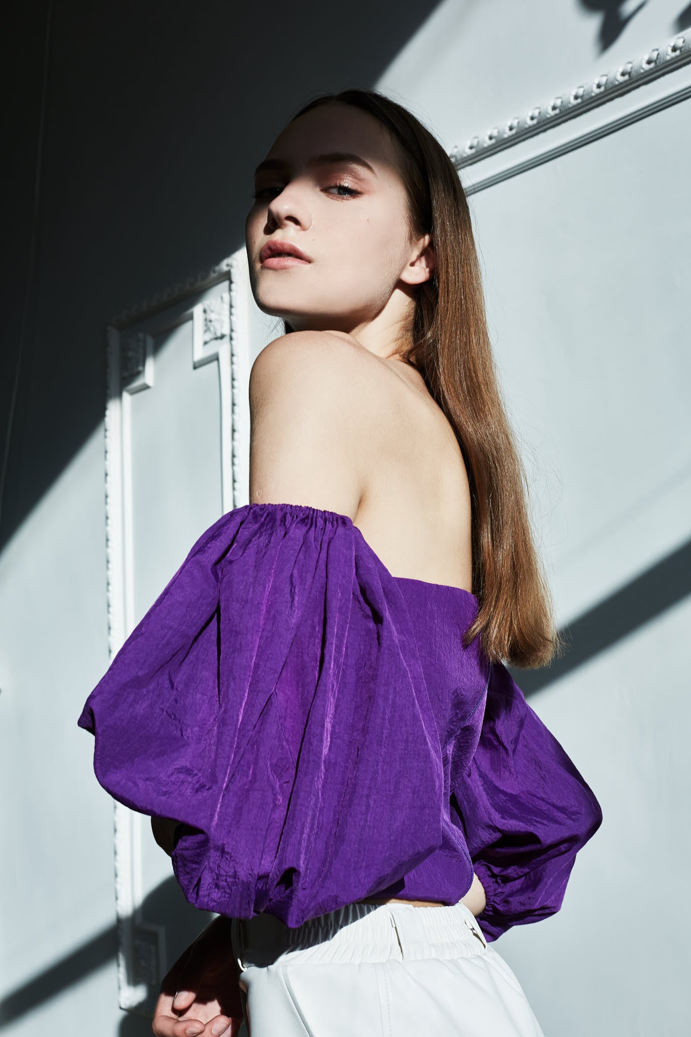 Le SLAP statement fashion clothing brand violet FRIDA top editorial fashion photoshoot Lithuanian model