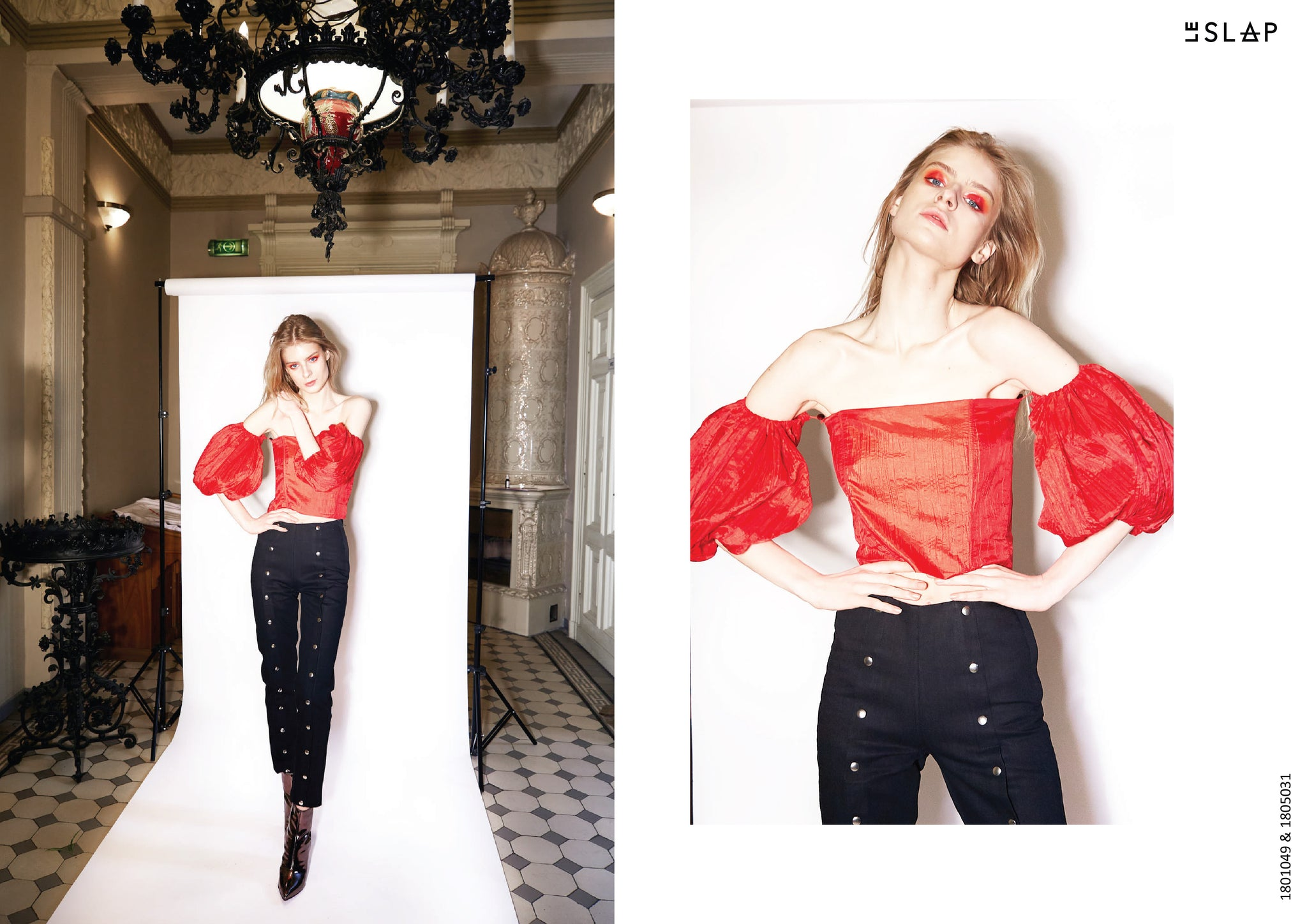 Le SLAP clothing brand lookbook statement fashion photoshoot Red volume sleeve top and Front Button Black Denim Jeans