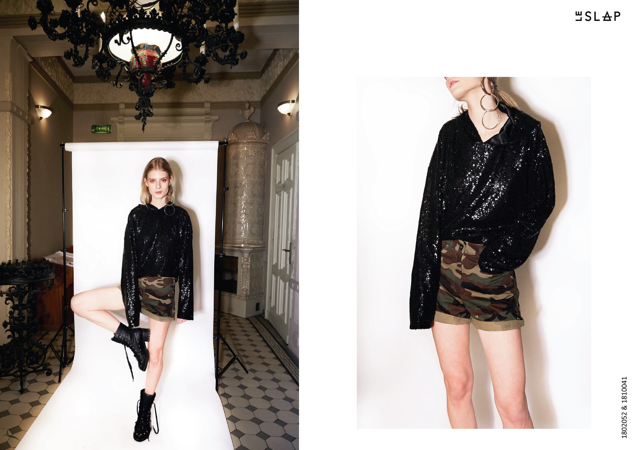 Le SLAP clothing brand lookbook statement fashion photoshoot Camouflage print shorts and Black sequin sweater