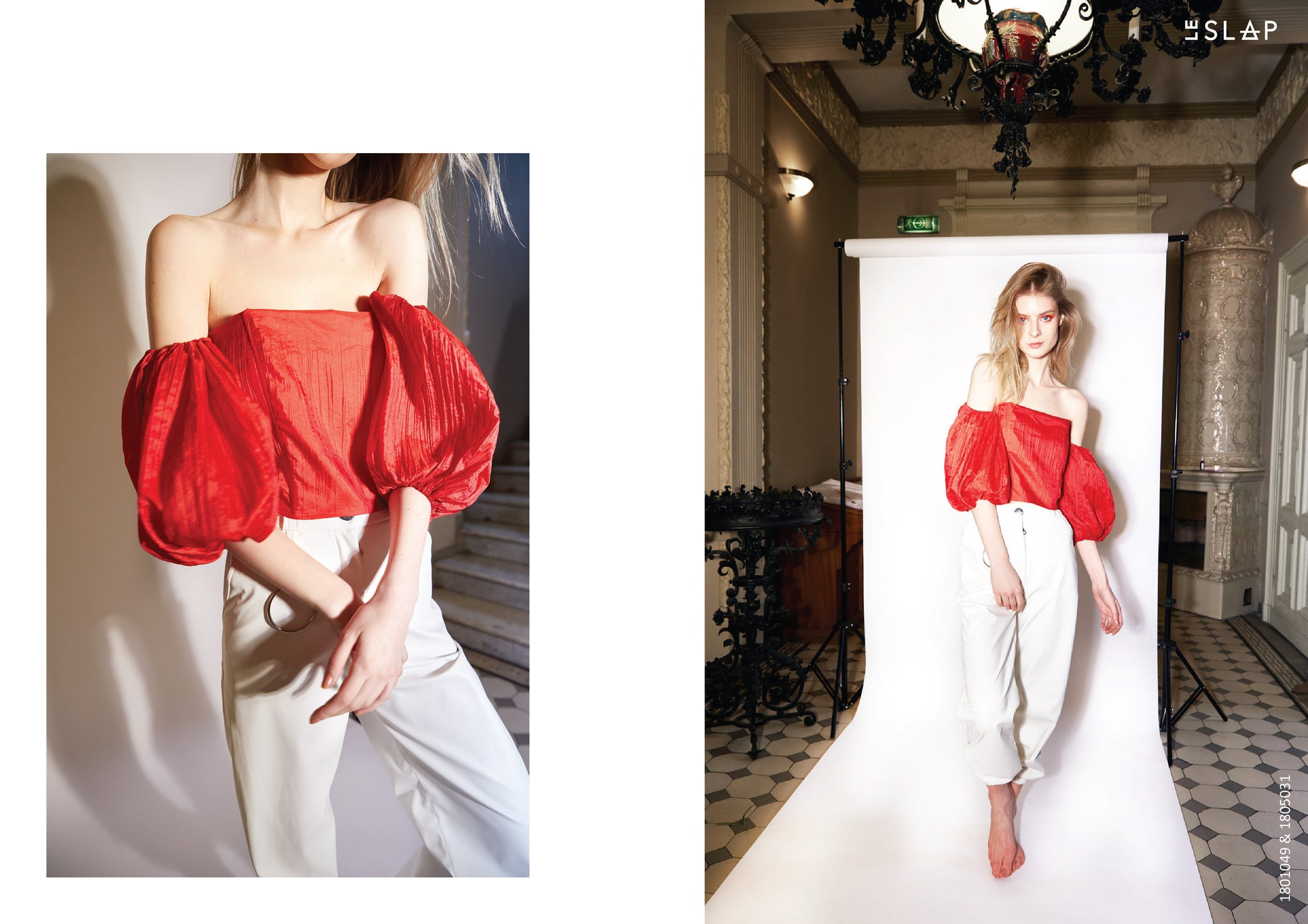 Le SLAP clothing brand lookbook statement fashion photoshoot  Red volume sleeve top and White wide eco leather pants