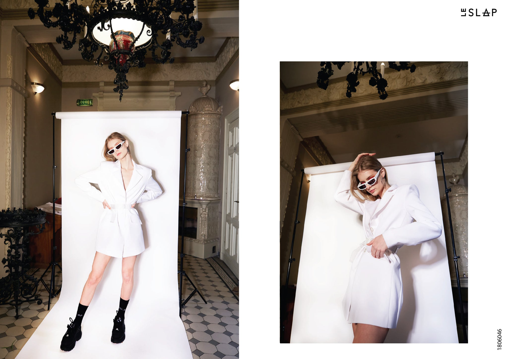 Le SLAP clothing brand lookbook statement fashion photoshoot  White tailoring dress/ jacket with two belts