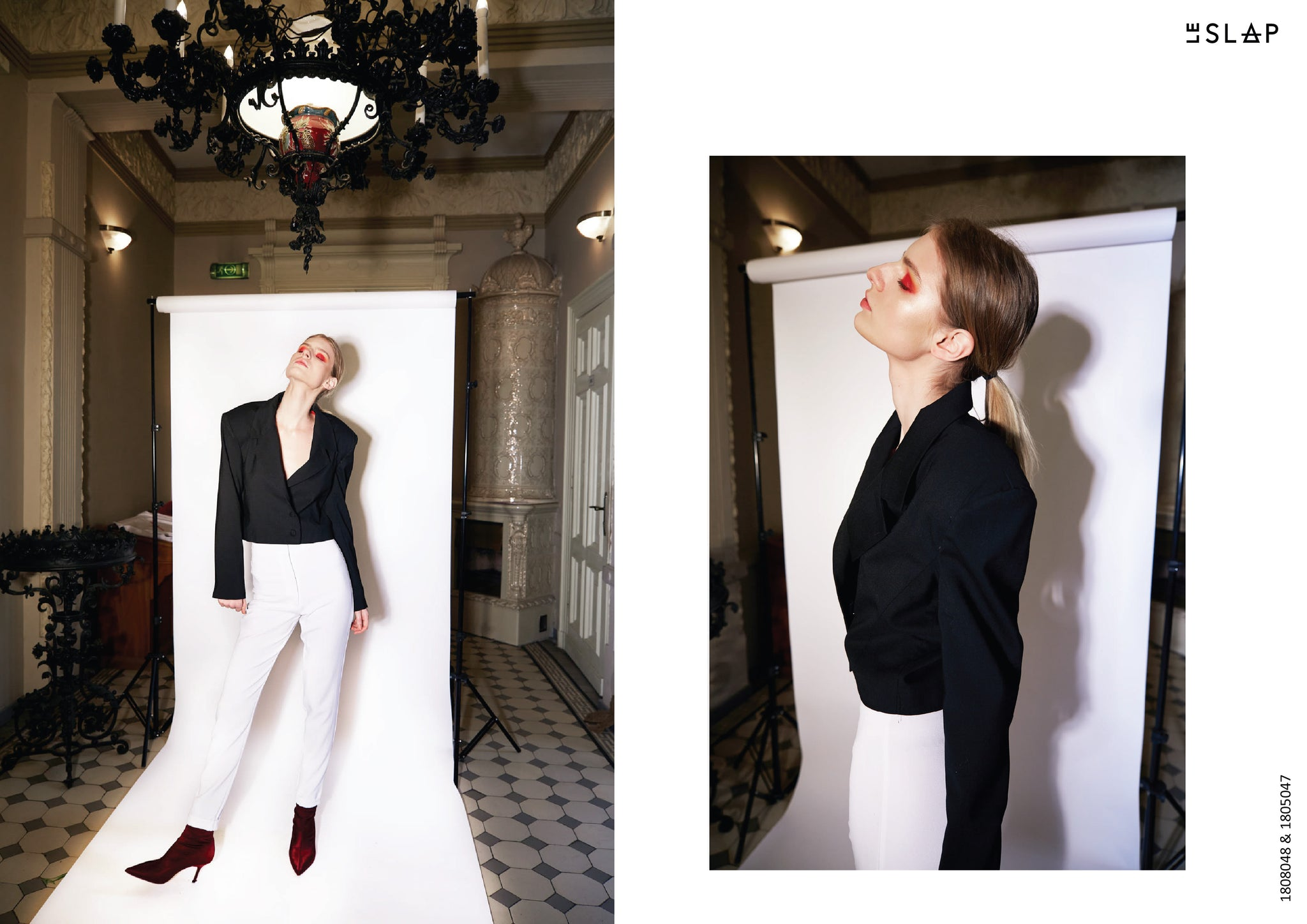 Le SLAP clothing brand lookbook statement fashion photoshoot White tailoring cigarette pants and Black cut fit jacket
