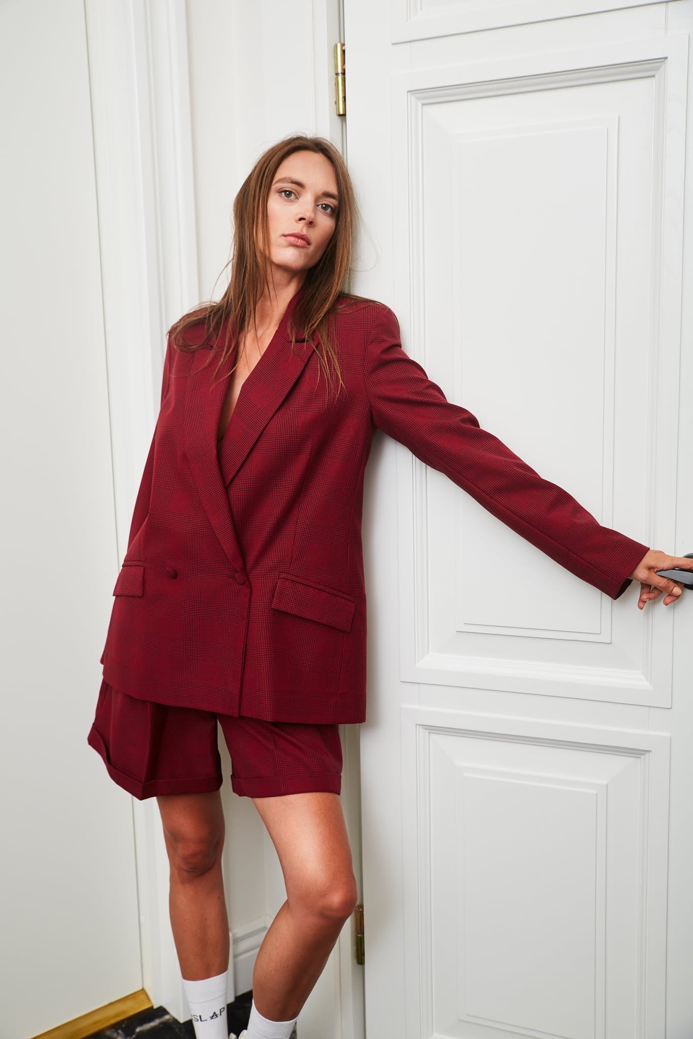 Le SLAP burgundy check tailoring suit editorial fashion photoshoot