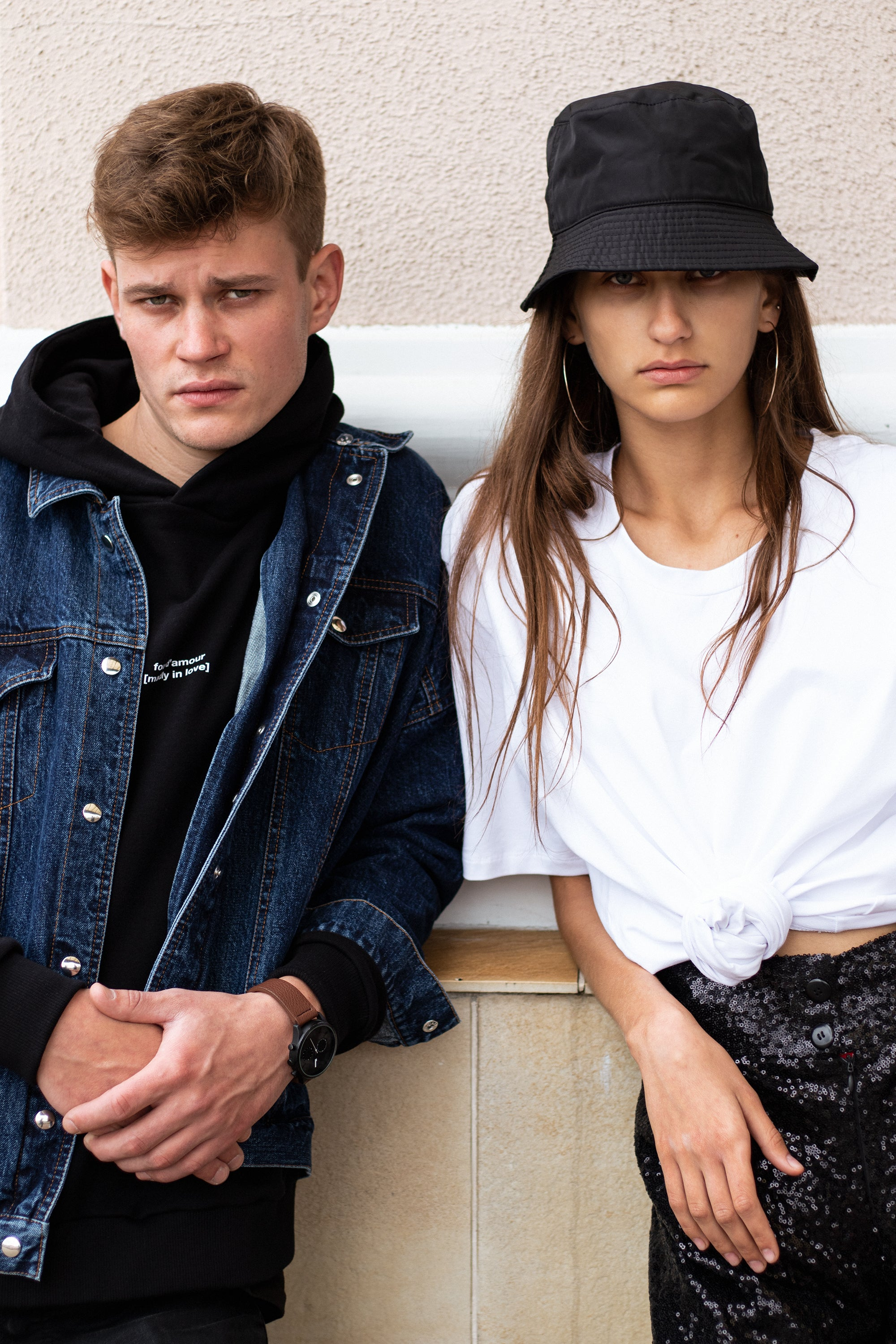le-slap-photoshoot-streetstyle-couple-sequin-shorts-logo-tshirt-black-hoodie-denim-jacket.jpg